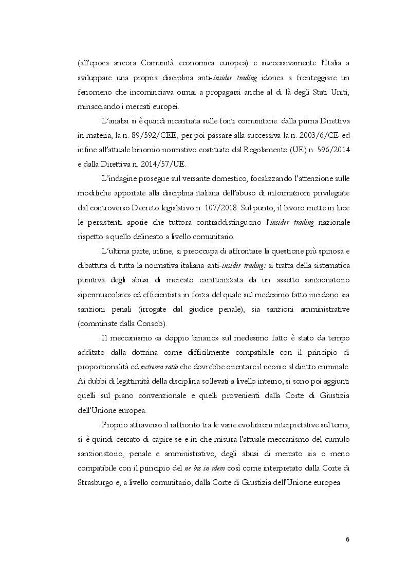 Anteprima della tesi: L'insider trading dalle origini statunitensi alla disciplina comunitaria e italiana: la sistematica punitiva, Pagina 3