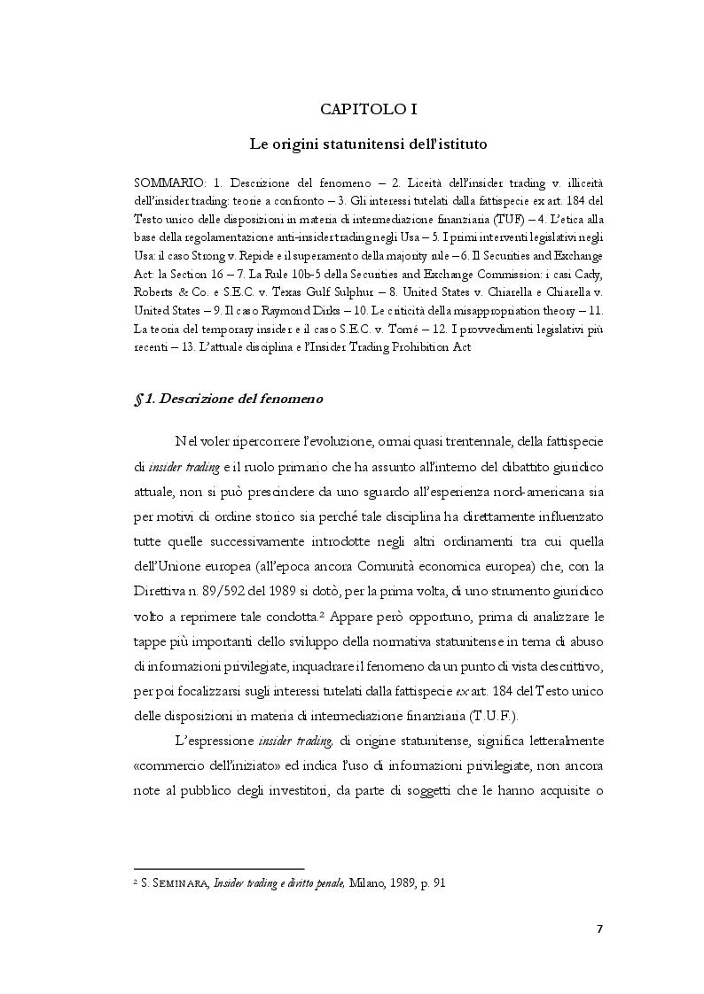 Anteprima della tesi: L'insider trading dalle origini statunitensi alla disciplina comunitaria e italiana: la sistematica punitiva, Pagina 4