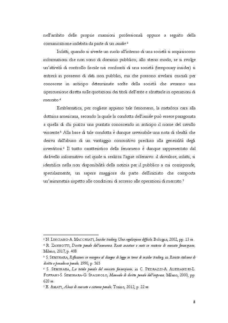 Anteprima della tesi: L'insider trading dalle origini statunitensi alla disciplina comunitaria e italiana: la sistematica punitiva, Pagina 5