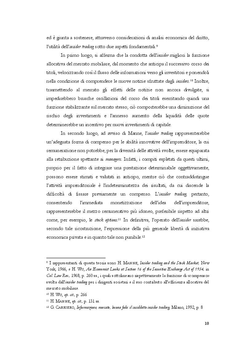Anteprima della tesi: L'insider trading dalle origini statunitensi alla disciplina comunitaria e italiana: la sistematica punitiva, Pagina 7