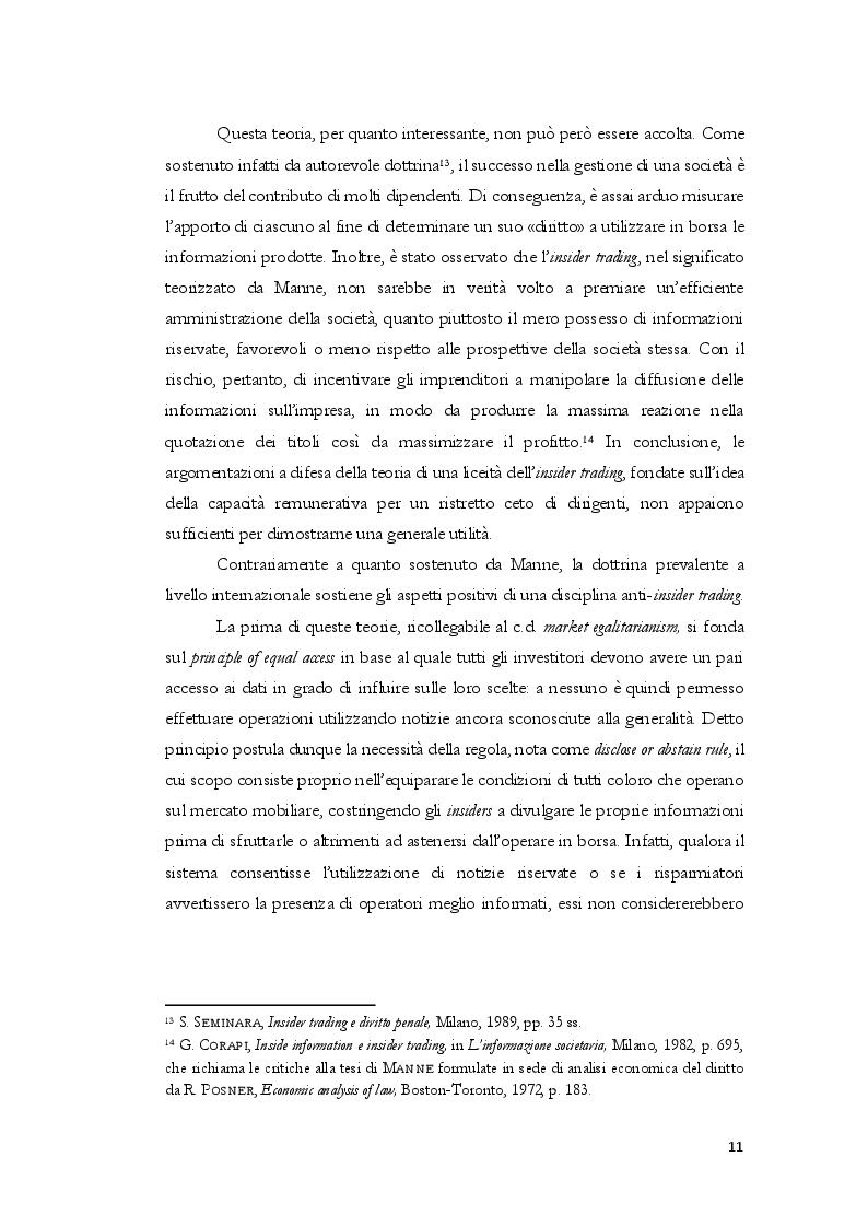 Anteprima della tesi: L'insider trading dalle origini statunitensi alla disciplina comunitaria e italiana: la sistematica punitiva, Pagina 8