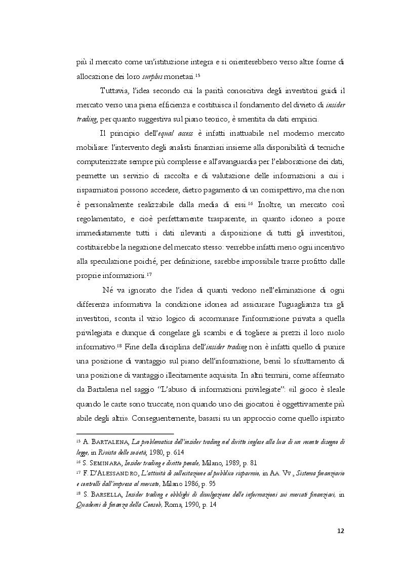 Anteprima della tesi: L'insider trading dalle origini statunitensi alla disciplina comunitaria e italiana: la sistematica punitiva, Pagina 9