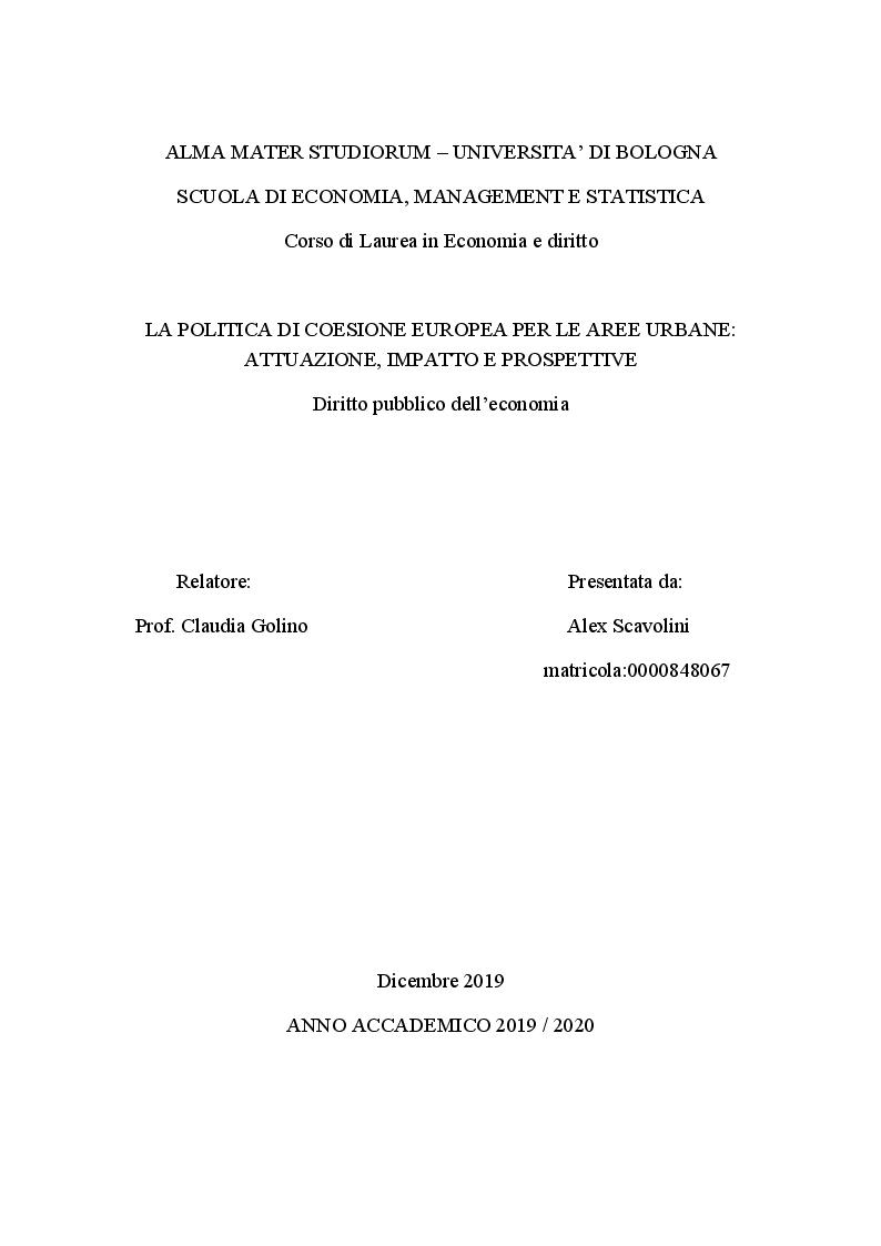 Anteprima della tesi: La politica di coesione europea per le aree urbane: attuazione, impatto e prospettive, Pagina 1
