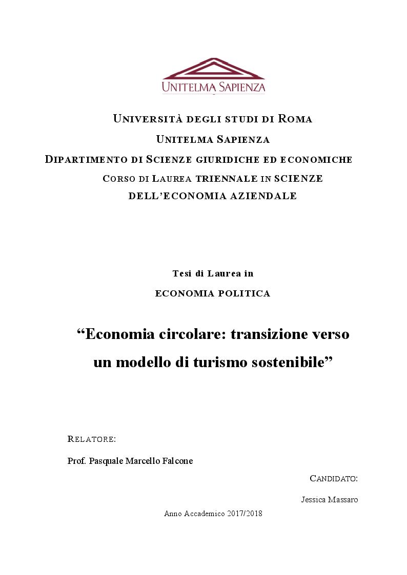 Anteprima della tesi: Economia circolare: transizione verso un modello di turismo sostenibile, Pagina 1