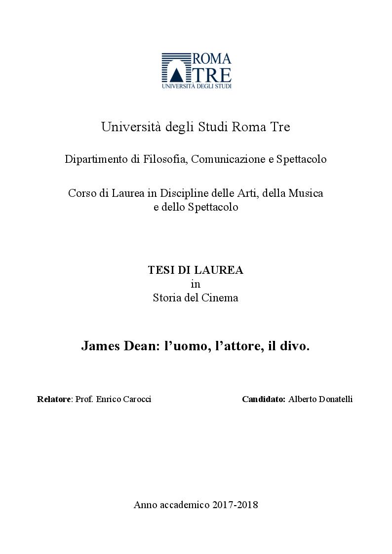 Anteprima della tesi: James Dean: l'uomo, l'attore, il divo, Pagina 1
