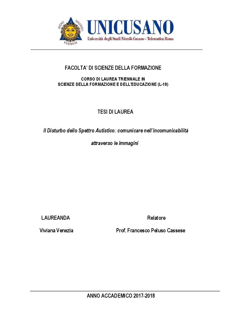 Anteprima della tesi: Il Disturbo dello Spettro Autistico: comunicare nell'incomunicabilità attraverso le immagini, Pagina 1