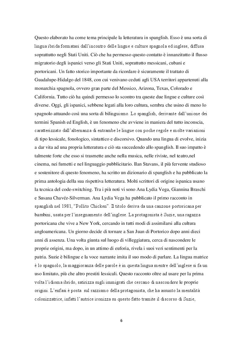 Anteprima della tesi: Lo spanglish in letteratura, Pagina 2