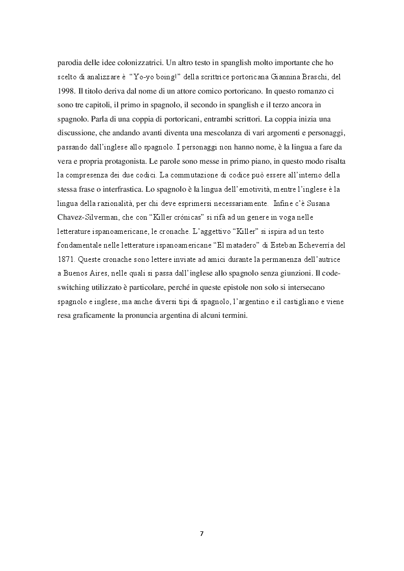 Anteprima della tesi: Lo spanglish in letteratura, Pagina 3