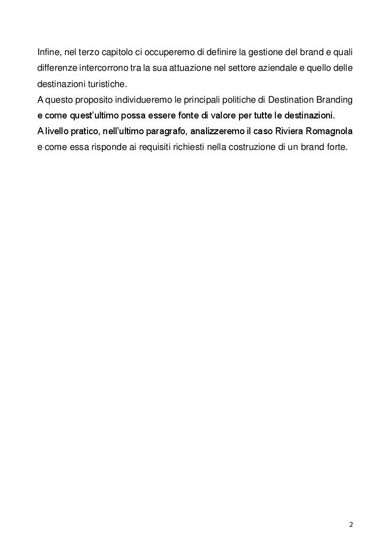 Anteprima della tesi: Il ruolo del brand nel settore turistico, Pagina 3