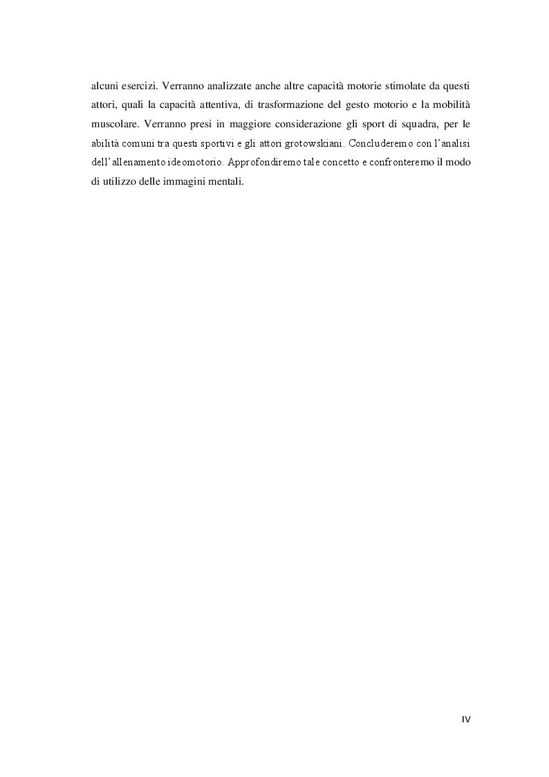 Anteprima della tesi: Attori e atleti: una comparazione tra l'allenamento fisico di J. Grotowski e quello sportivo, Pagina 5