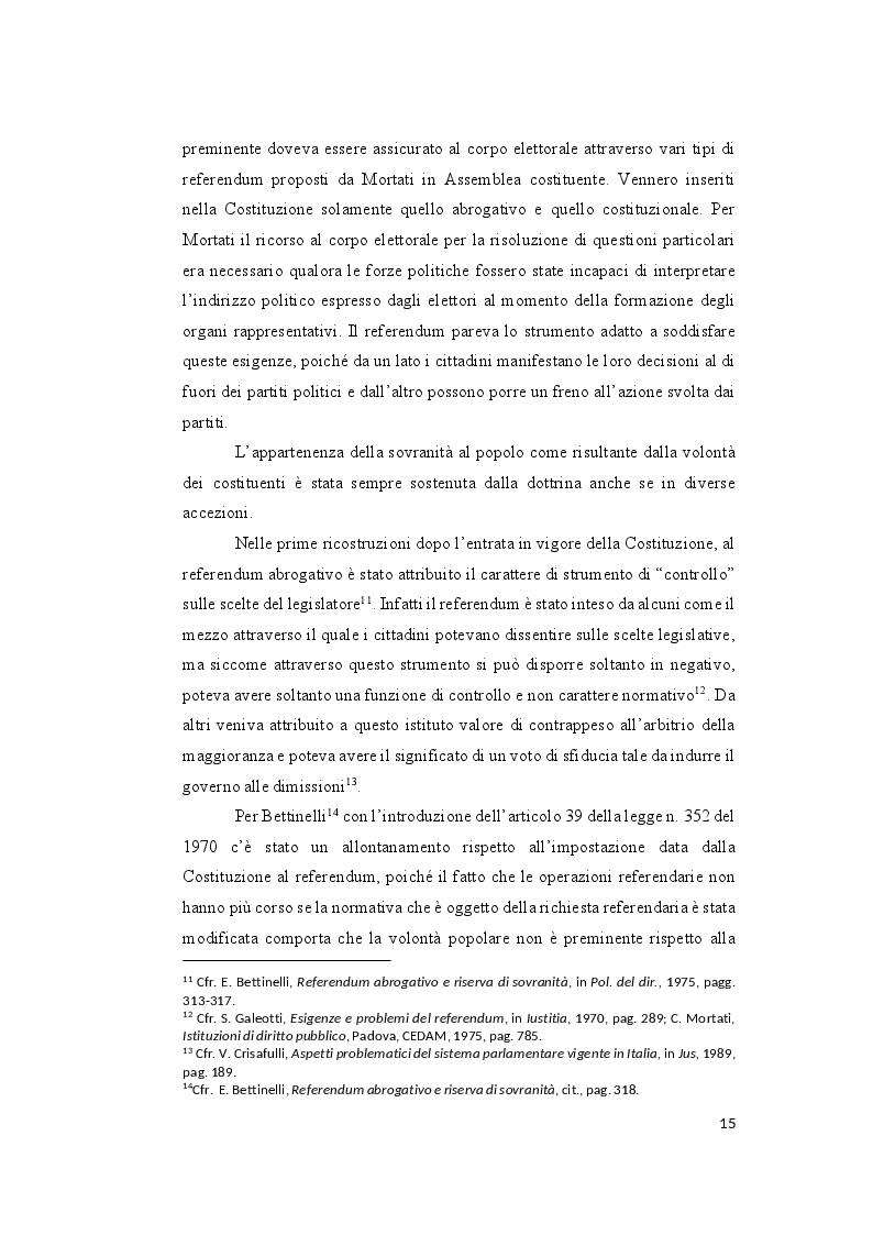 Estratto dalla tesi: Il controllo sull'ammissibilità del referendum abrogativo e il rischio di un giudizio anticipato di legittimità costituzionale