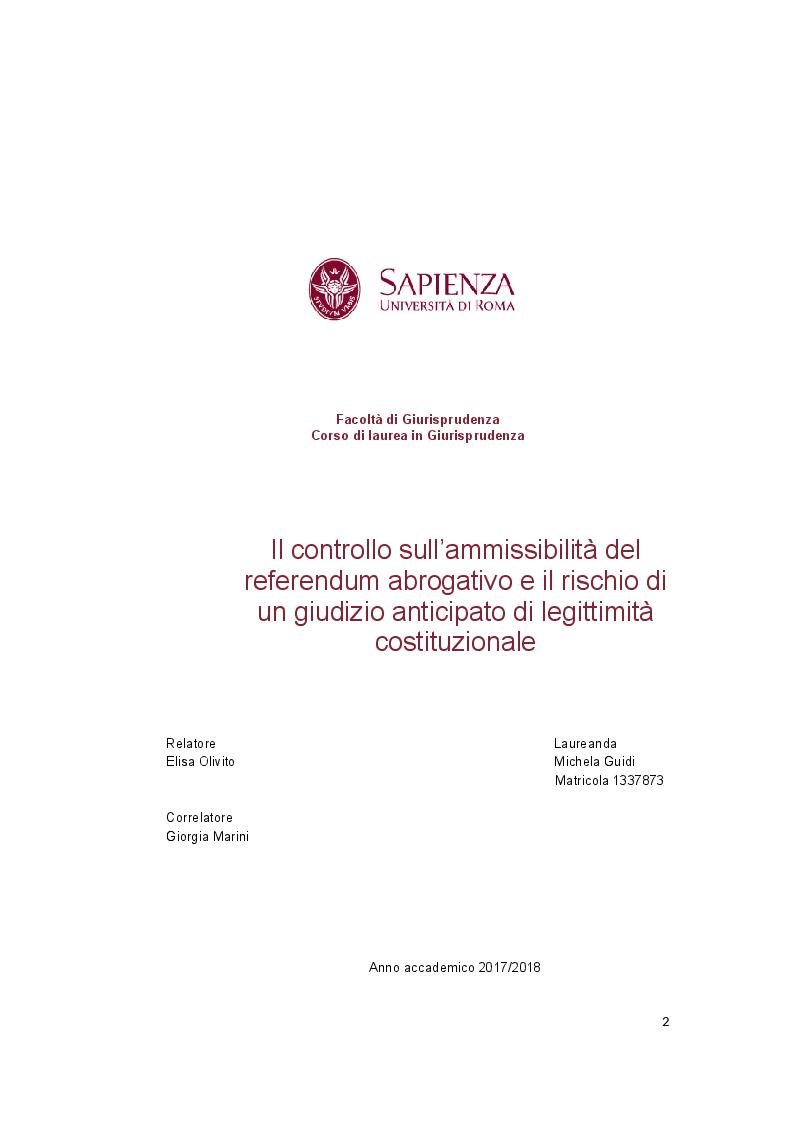 Anteprima della tesi: Il controllo sull'ammissibilità del referendum abrogativo e il rischio di un giudizio anticipato di legittimità costituzionale, Pagina 1