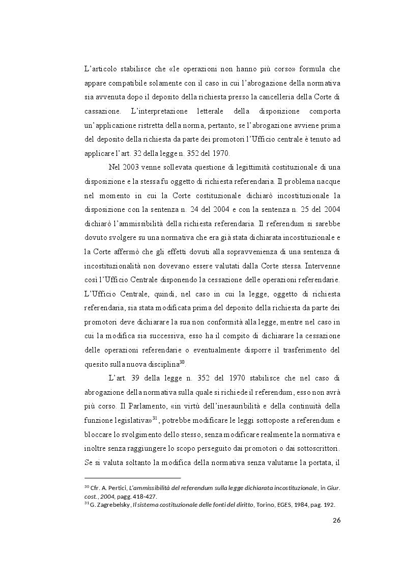 Anteprima della tesi: Il controllo sull'ammissibilità del referendum abrogativo e il rischio di un giudizio anticipato di legittimità costituzionale, Pagina 6
