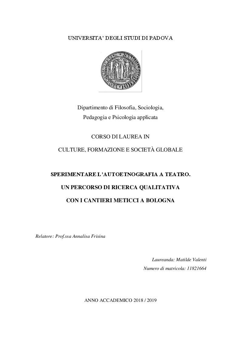Anteprima della tesi: Sperimentare l'autoetnografia a teatro. Un percorso di ricerca qualitativa con i Cantieri Meticci a Bologna, Pagina 1