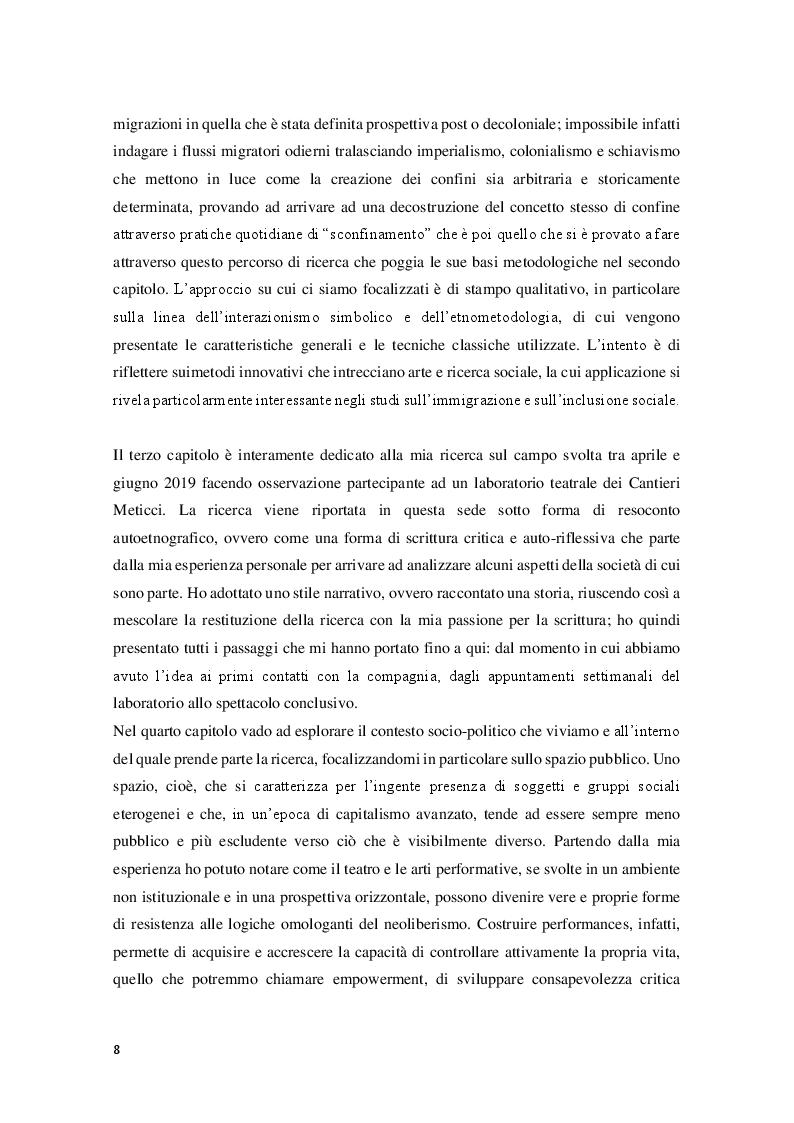 Anteprima della tesi: Sperimentare l'autoetnografia a teatro. Un percorso di ricerca qualitativa con i Cantieri Meticci a Bologna, Pagina 4