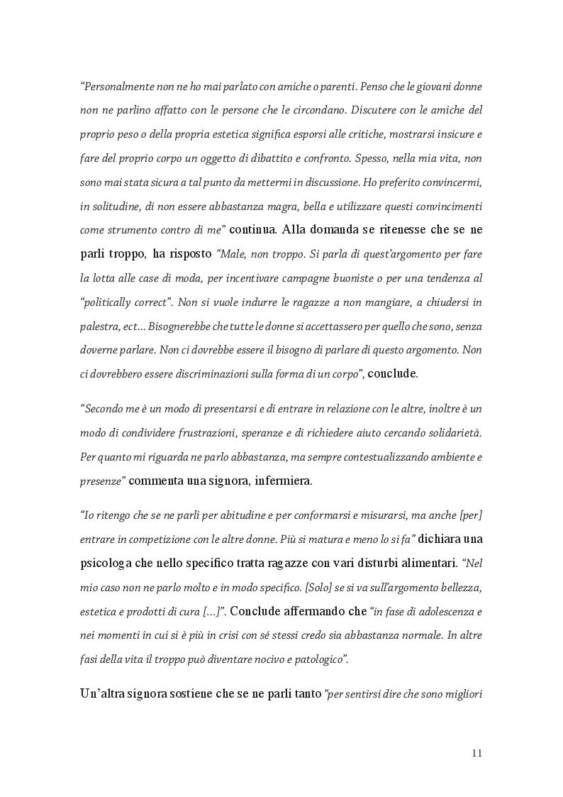 Estratto dalla tesi: Fat Talk: il ruolo della comunicazione e le responsabilità dei Mass Media