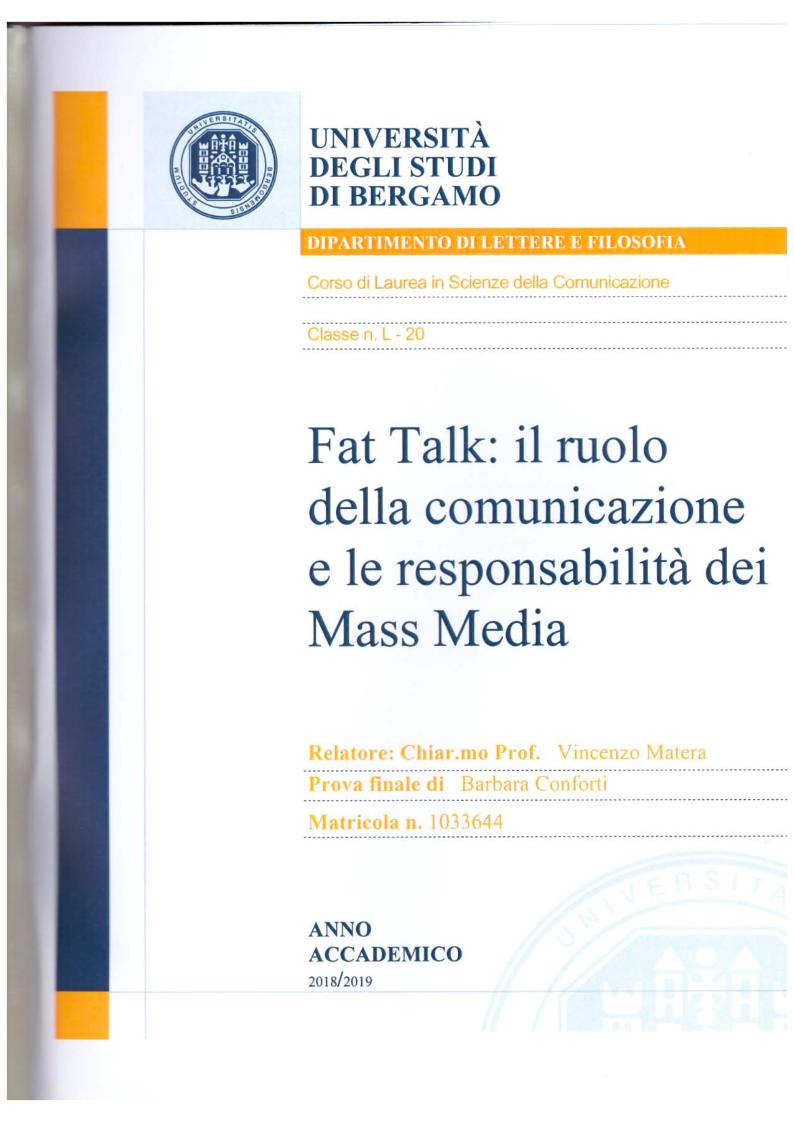 Anteprima della tesi: Fat Talk: il ruolo della comunicazione e le responsabilità dei Mass Media, Pagina 1