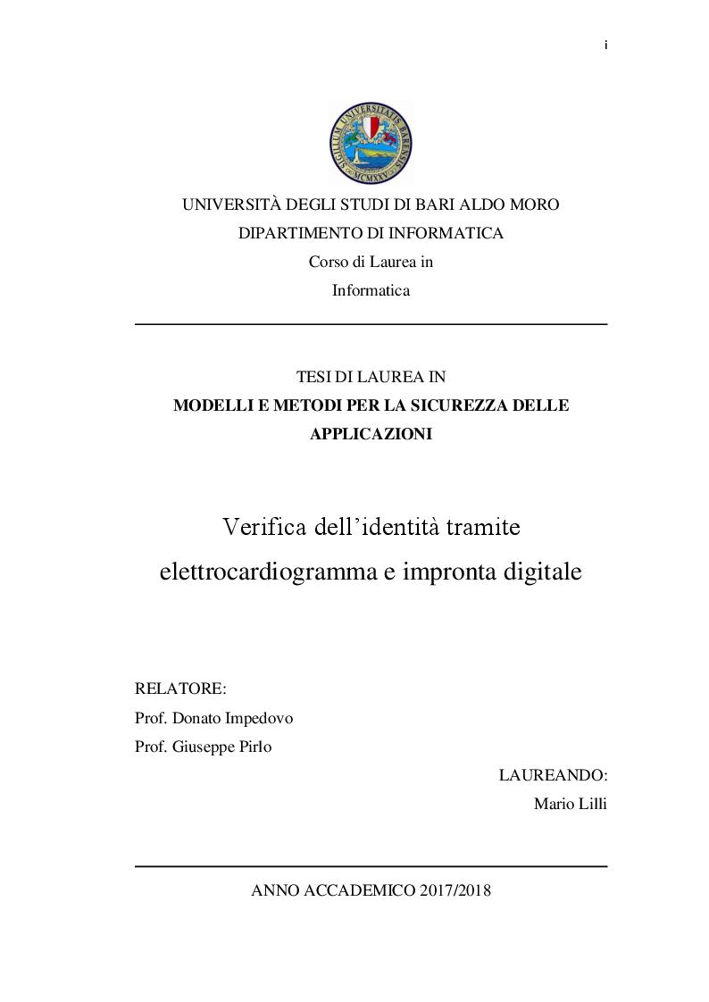 Anteprima della tesi: Verifica dell'identità tramite elettrocardiogramma e impronta digitale, Pagina 1