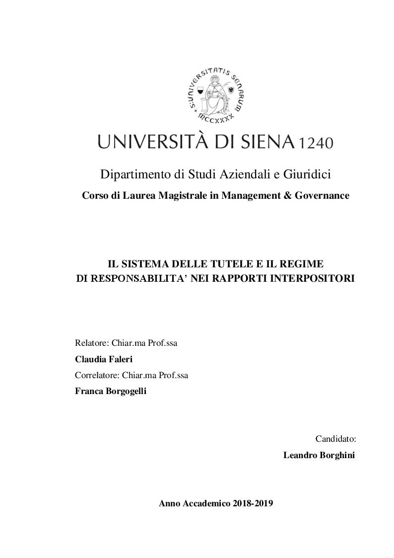 Anteprima della tesi: Il sistema delle tutele e il regime di responsabilità nei rapporti interpositori, Pagina 1