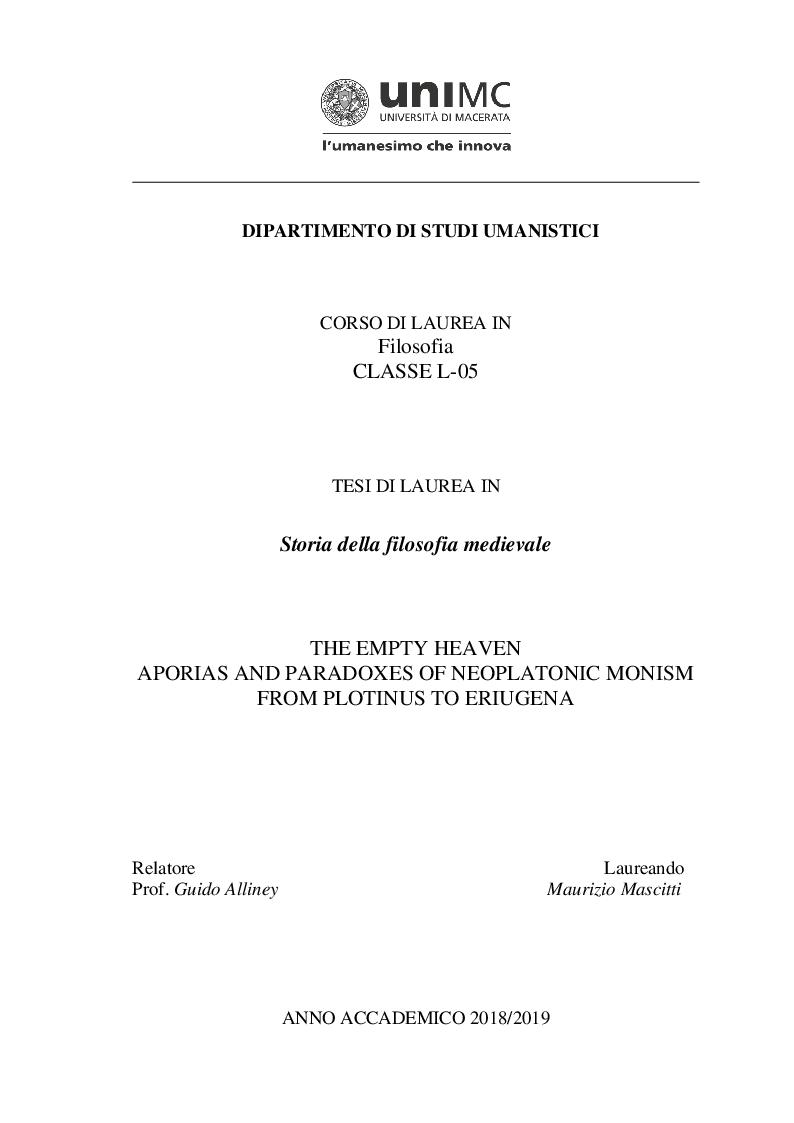 Anteprima della tesi: Il paradiso disabitato. Aporie e paradossi del monismo neoplatonico da Plotino a Eriugena, Pagina 1