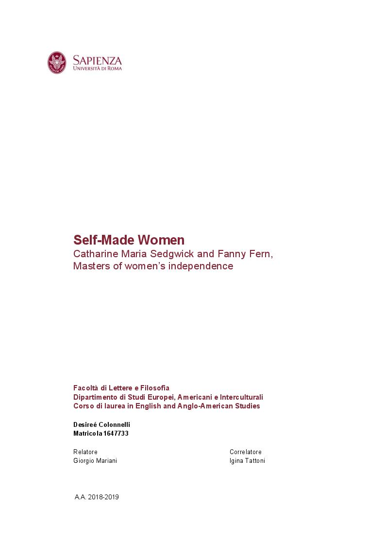 Anteprima della tesi: Self-Made Women - Catharine Maria Sedgwick and Fanny Fern, masters of women's independence, Pagina 1