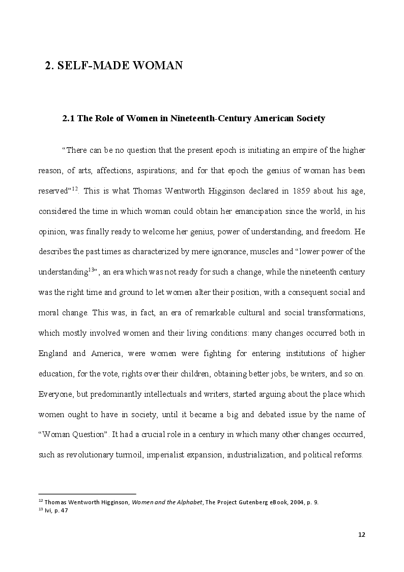 Anteprima della tesi: Self-Made Women - Catharine Maria Sedgwick and Fanny Fern, masters of women's independence, Pagina 2