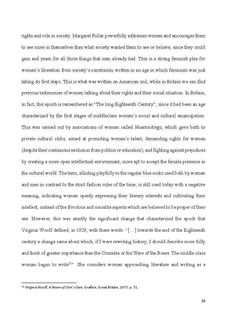 Anteprima della tesi: Self-Made Women - Catharine Maria Sedgwick and Fanny Fern, masters of women's independence, Pagina 6