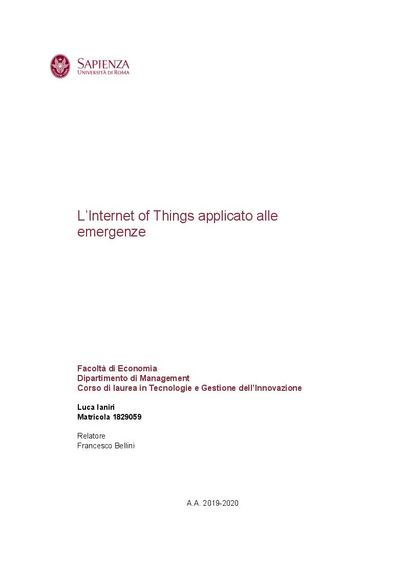 Anteprima della tesi: L'Internet of Things applicato alle emergenze, Pagina 1