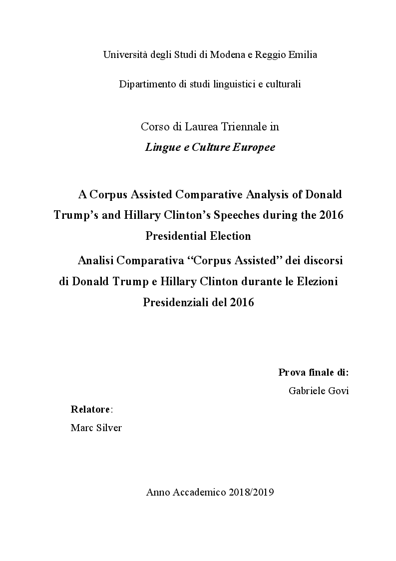 Anteprima della tesi: A Corpus Assisted Comparative Analysis of Donald Trump's and Hillary Clinton's Speeches during the 2016 Presidential Election, Pagina 1