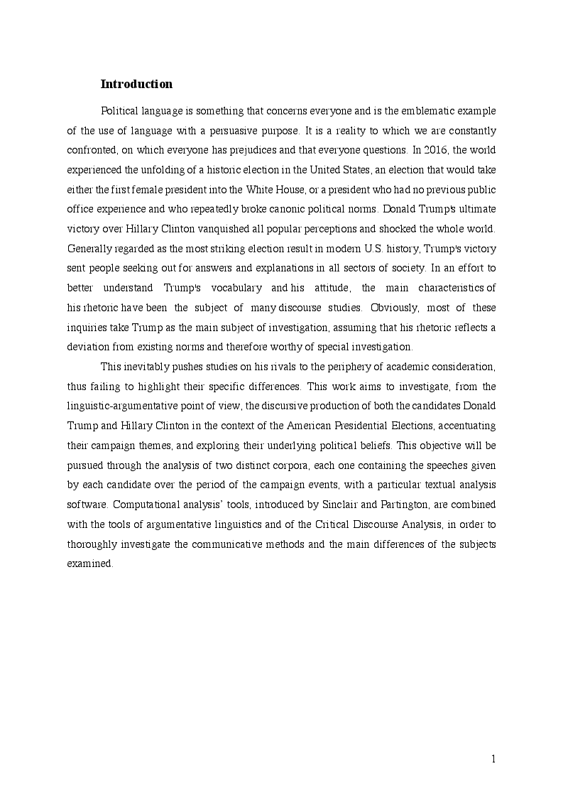 Anteprima della tesi: A Corpus Assisted Comparative Analysis of Donald Trump's and Hillary Clinton's Speeches during the 2016 Presidential Election, Pagina 2