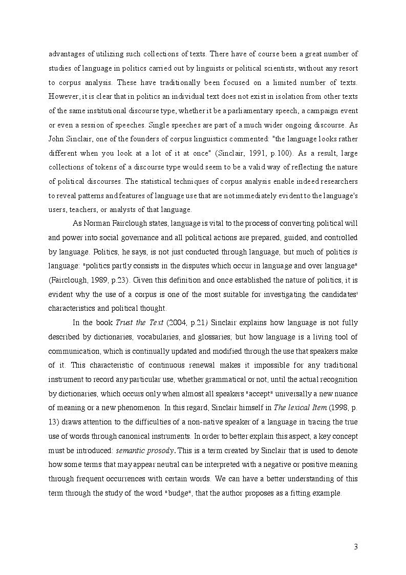 Anteprima della tesi: A Corpus Assisted Comparative Analysis of Donald Trump's and Hillary Clinton's Speeches during the 2016 Presidential Election, Pagina 4
