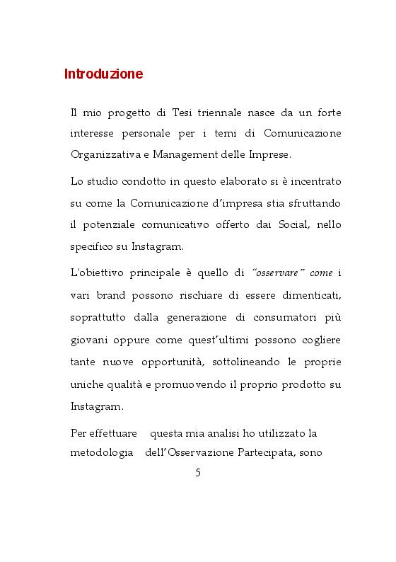 Anteprima della tesi: Da osservatrice ad influencer: Esperienza sulla Comunicazione d'Impresa su Instagram, Pagina 2