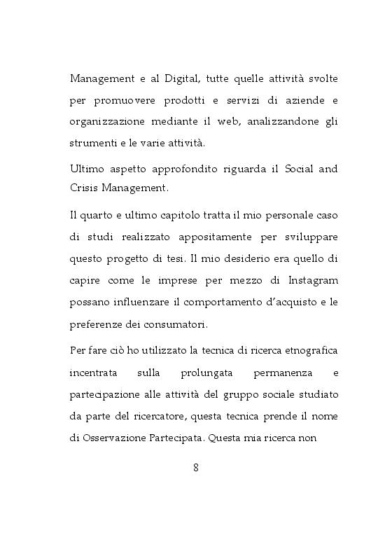 Anteprima della tesi: Da osservatrice ad influencer: Esperienza sulla Comunicazione d'Impresa su Instagram, Pagina 5