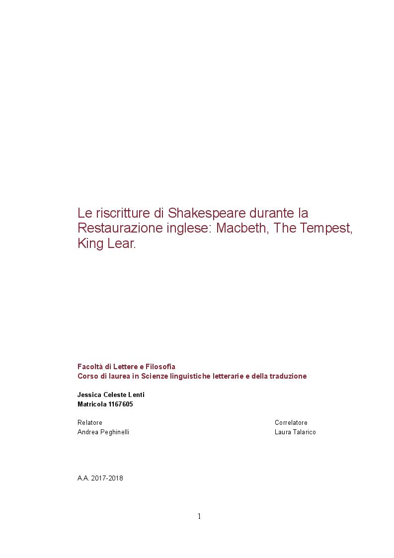 Anteprima della tesi: Le riscritture di Shakespeare durante la Restaurazione inglese: Macbeth, The Tempest, King Lear., Pagina 1
