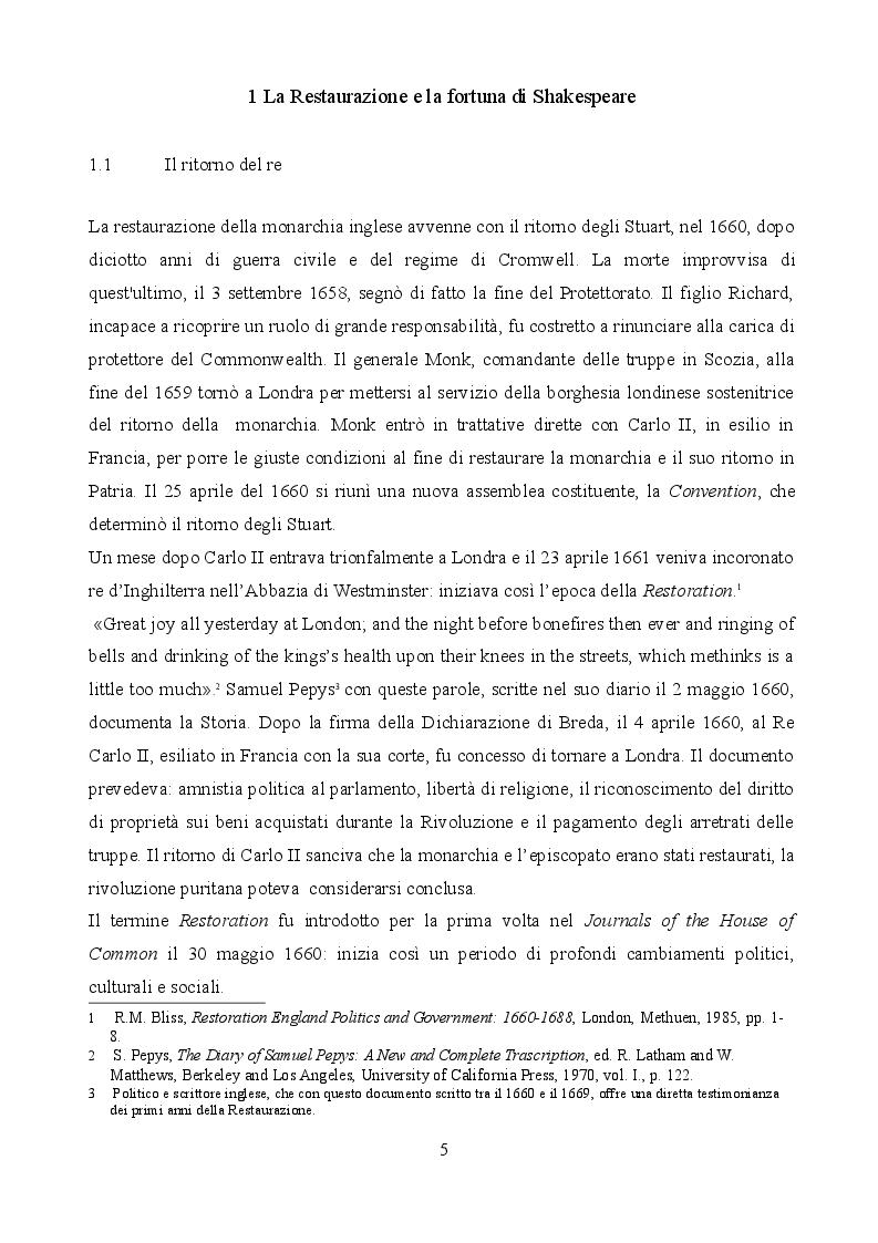 Anteprima della tesi: Le riscritture di Shakespeare durante la Restaurazione inglese: Macbeth, The Tempest, King Lear., Pagina 3