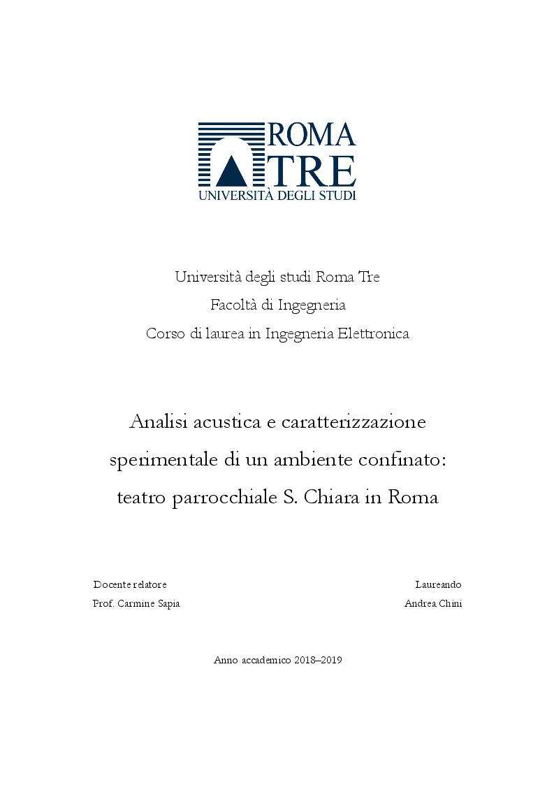 Anteprima della tesi: Analisi acustica e caratterizzazione sperimentale di un ambiente confinato: teatro parrocchiale S. Chiara in Roma, Pagina 1