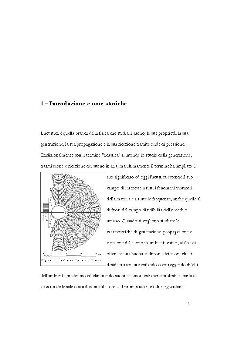 Anteprima della tesi: Analisi acustica e caratterizzazione sperimentale di un ambiente confinato: teatro parrocchiale S. Chiara in Roma, Pagina 2