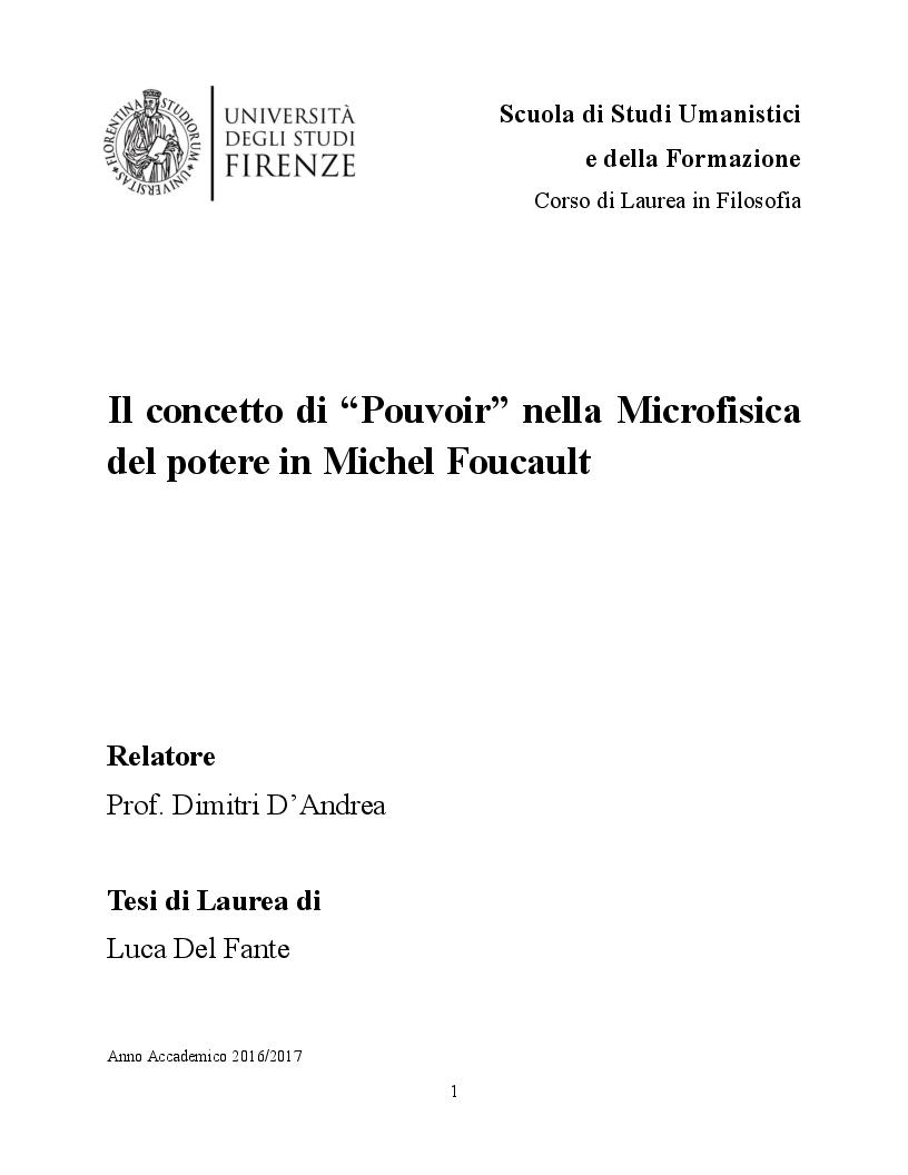 Anteprima della tesi: Il concetto di ''Pouvoir'' nella Microfisica del Potere di Michel Foucault, Pagina 1