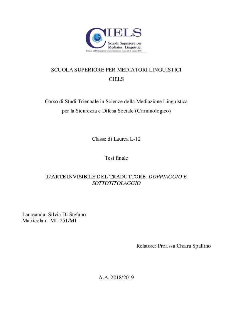 Anteprima della tesi: L'arte invisibile del traduttore: doppiaggio e sottotitolaggio, Pagina 1