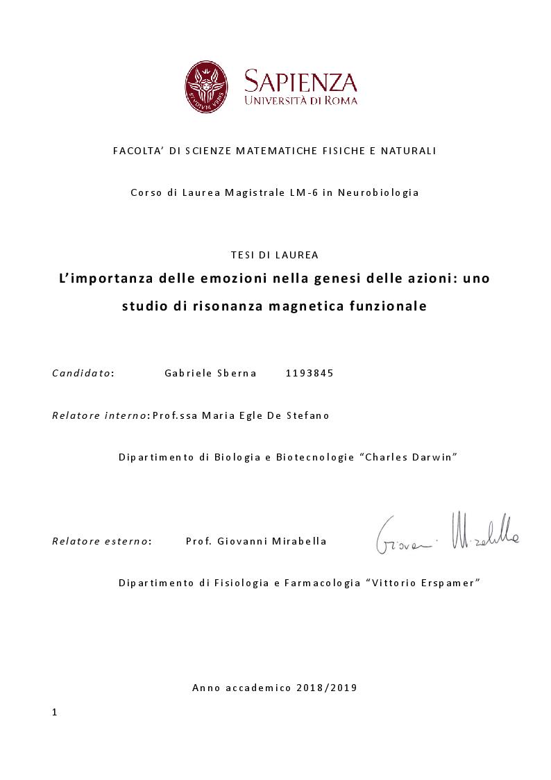 Anteprima della tesi: L'importanza delle emozioni nella genesi delle azioni: uno studio di risonanza magnetica funzionale, Pagina 1