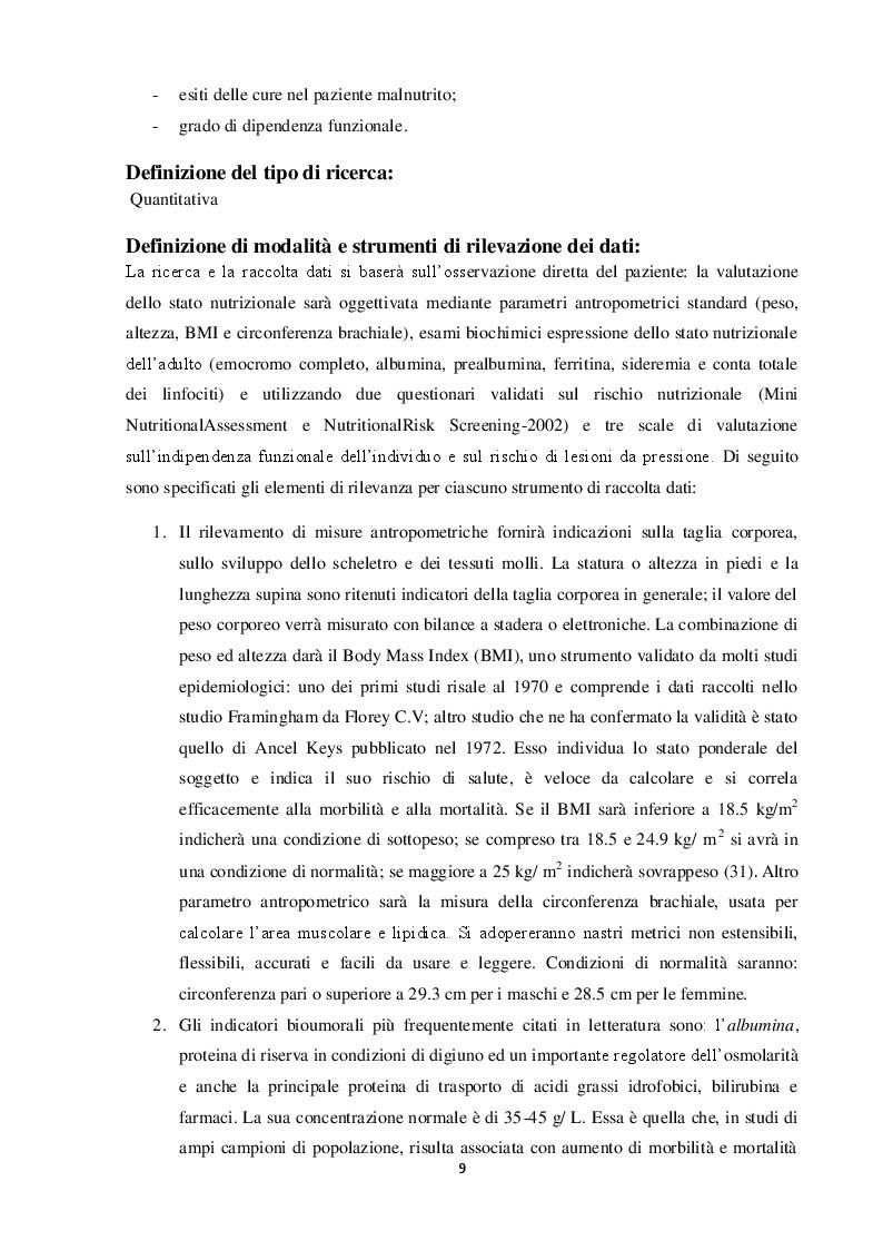 Estratto dalla tesi: Valutazione nutrizionale in chirurgia d'urgenza