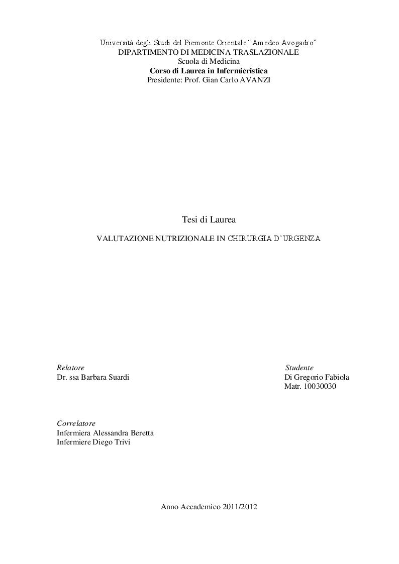 Anteprima della tesi: Valutazione nutrizionale in chirurgia d'urgenza, Pagina 1