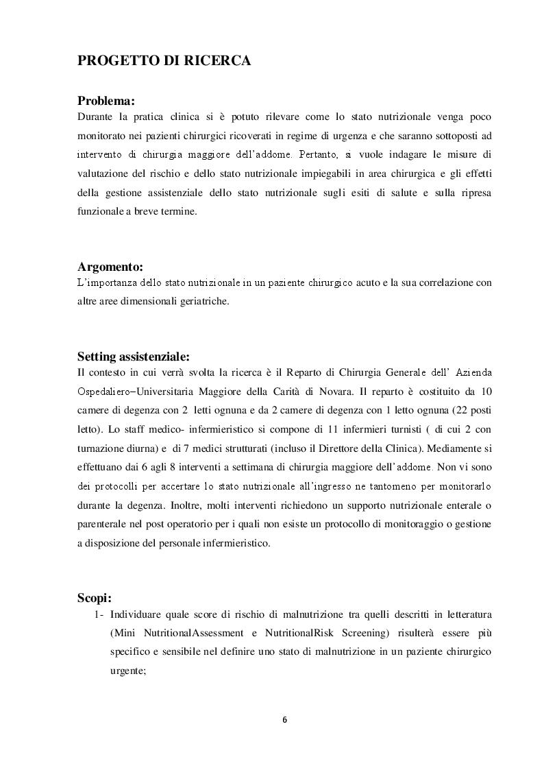 Anteprima della tesi: Valutazione nutrizionale in chirurgia d'urgenza, Pagina 2