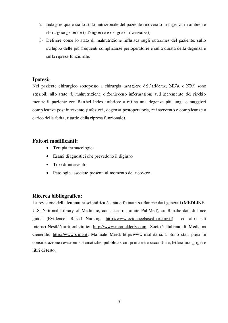 Anteprima della tesi: Valutazione nutrizionale in chirurgia d'urgenza, Pagina 3