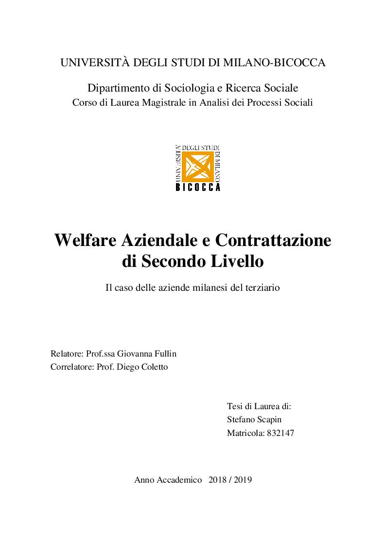 Anteprima della tesi: Welfare Aziendale e Contrattazione di Secondo Livello. Il caso delle aziende milanesi del terziario, Pagina 1