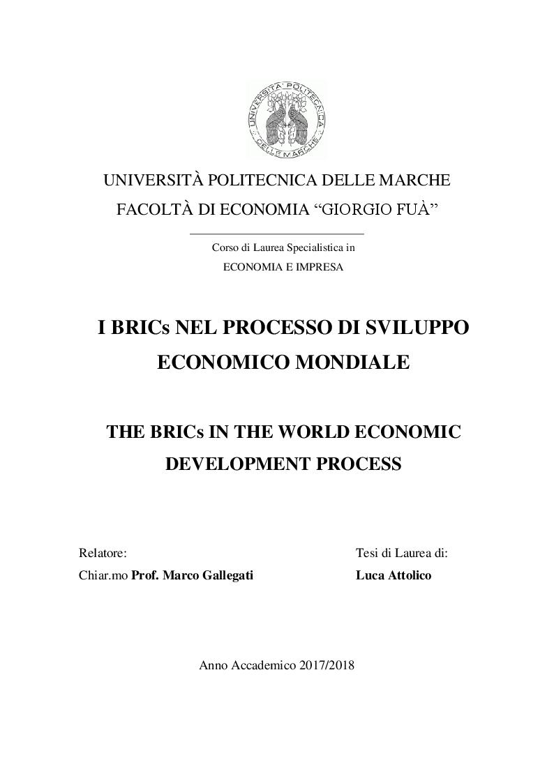Anteprima della tesi: I BRICs nel processo di sviluppo economico mondiale, Pagina 1