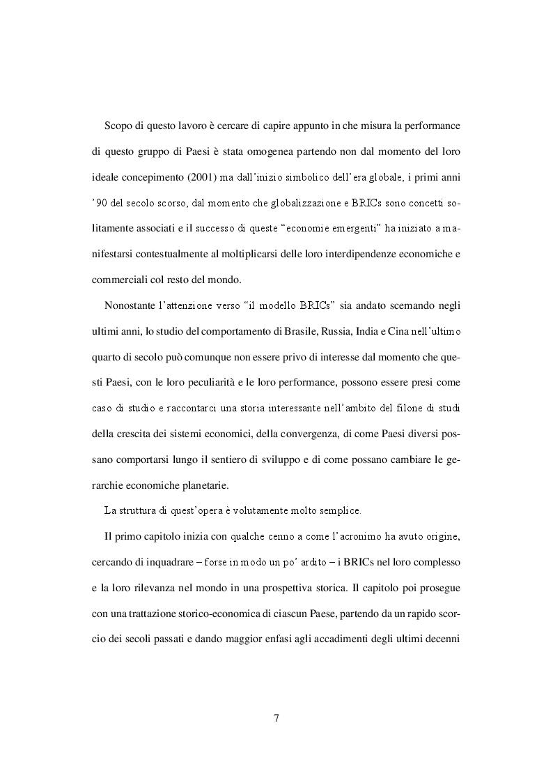 Anteprima della tesi: I BRICs nel processo di sviluppo economico mondiale, Pagina 4