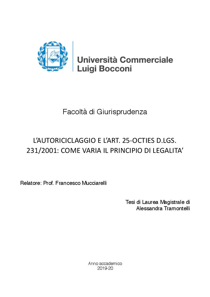 Anteprima della tesi: Autoriciclaggio e art. 25-octies D.lgs. 231/2001: come varia il principio di legalità, Pagina 1