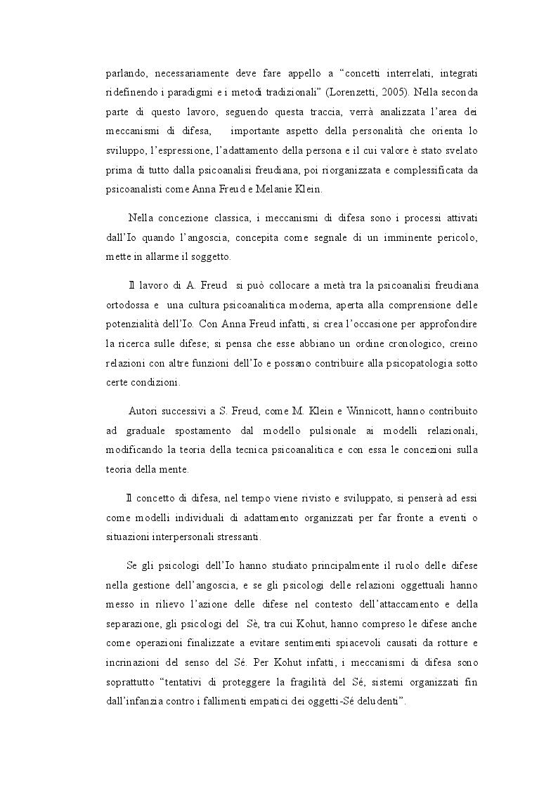 Anteprima della tesi: I Meccanismi di Difesa nella diagnosi psicologica attuale, Pagina 4