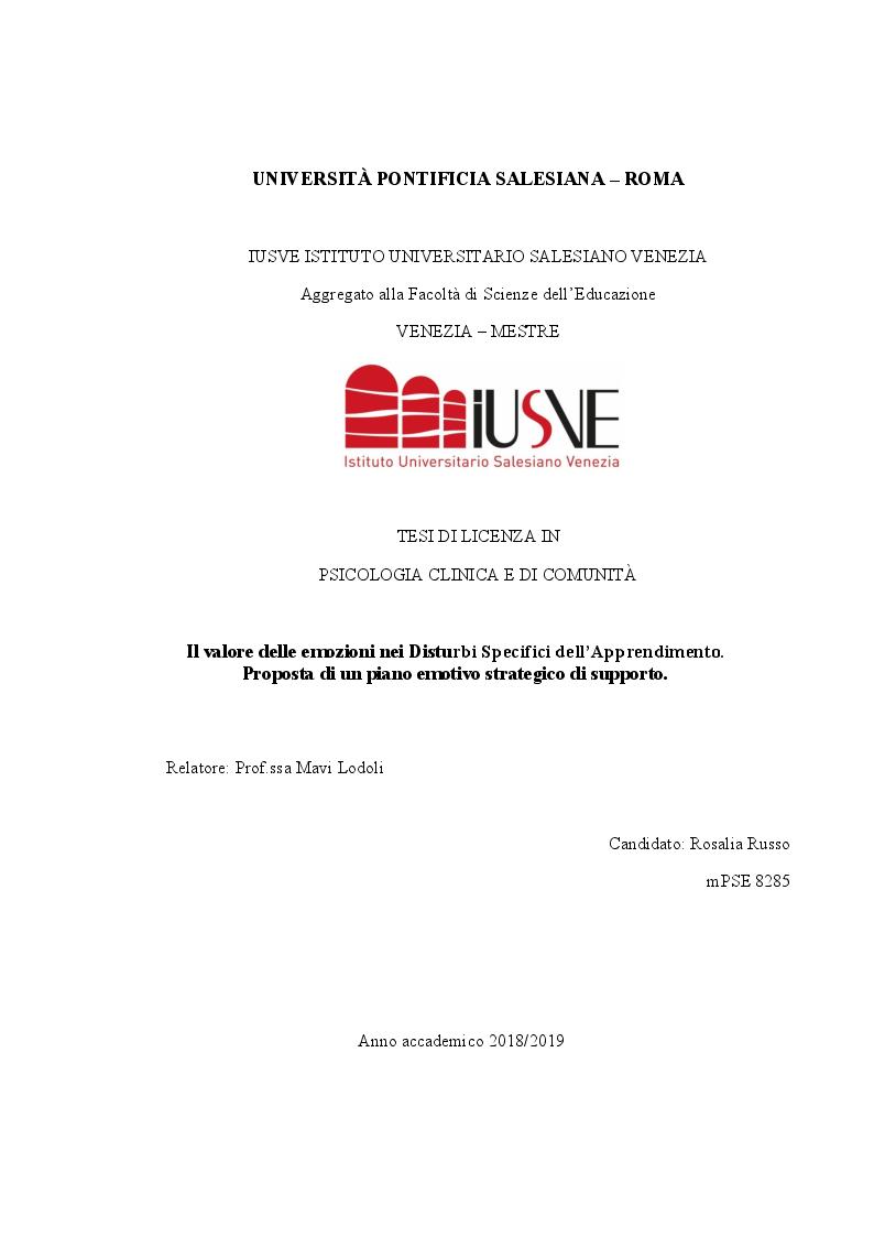 Anteprima della tesi: Il valore delle emozioni nei Disturbi Specifici dell'Apprendimento. Proposta di un piano emotivo strategico di supporto., Pagina 1